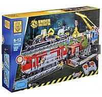Конструктор поезд грузовой на пульте управления Железная дорога Lion King 1033 детали