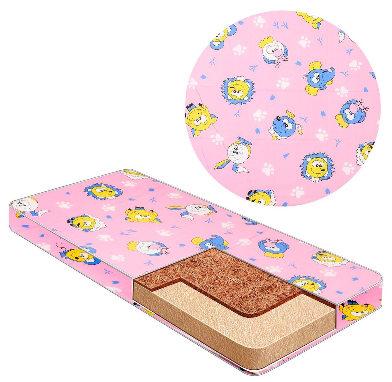 Матрас для детской кроватки, кокос-поролон, против искривления позвоночника, чехол на молнии, Капитошка 6574