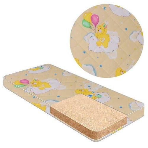 Матрас для детской кроватки, кокос-поролон-поликоттон, ортопедический, чехол на молнии, Мишки с шариком