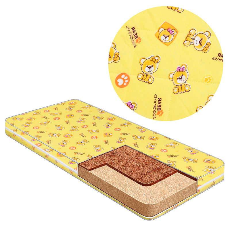 Матрац для дитячого ліжечка, кокос-поролон-поликоттон, ортопедичний, чохол на блискавки, Сліди ведмедика