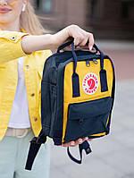 Шкільні портфелі Канкен. Рюкзаки Fjallraven Kanken Classic Mini Рюкзак жовтий з чорним молодіжний шкільний 7л