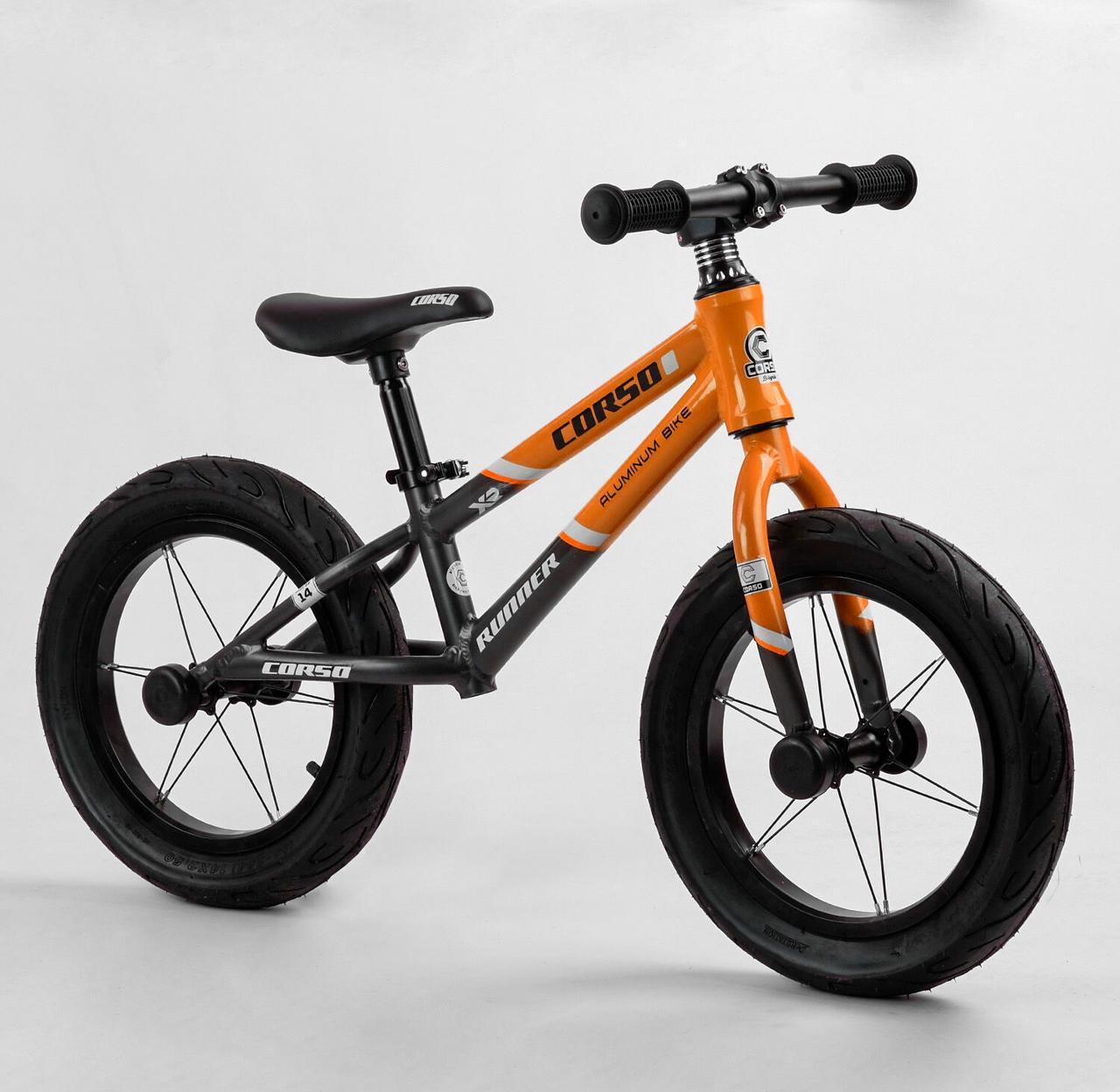 """Детский беговел с надувными колесами диаметром 14"""" и регулировкой сиденья CORSO «Runner» 23995"""
