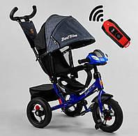 Триколісний велосипед з батьківською ручкою і регульованою спинкою 3390/81-338 Best Trike, колір синій, фото 1