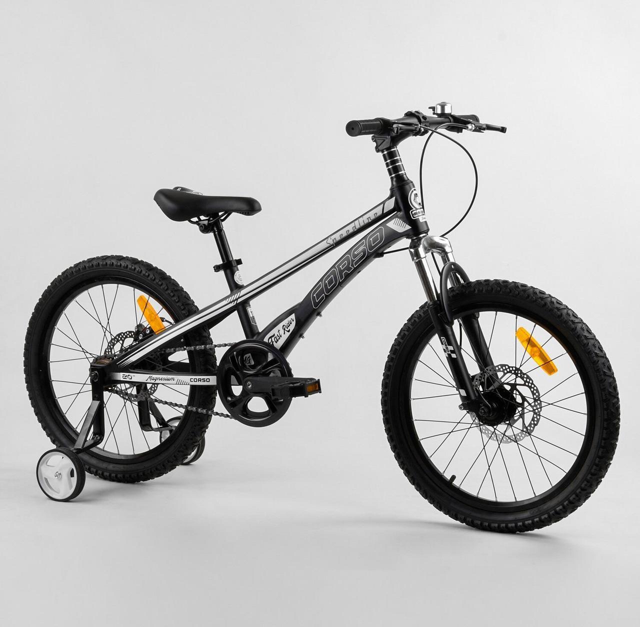 Велосипед двоколісний з додатковими колесами і ручним гальмом CORSO «Speedline» MG-98402, чорний