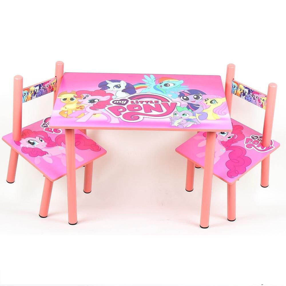 Яркий деревянный комплект мебели для ребенка столик с двумя стульчиками M 1522 Розовый пони