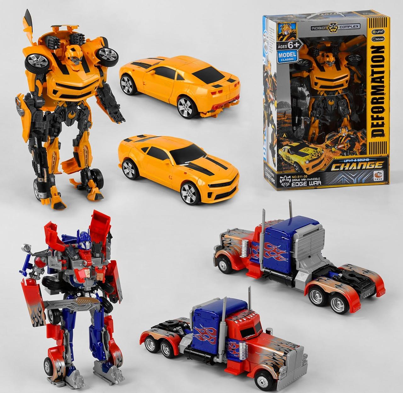 Игровой набор роботов-трансформеров со световыми и звуковыми эффектами 611-35, работает от батареек (2 вида)