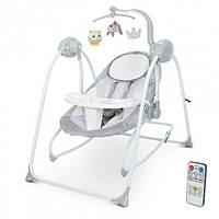Дитяче крісло-качалка, шезлонг-гойдалки 2 в 1 з таймером EL CAMINO ME 1076 EMMA Gray Bear (колір сірий)