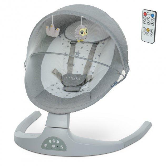 Электронный центр для укачивания детей с рождения с Bluetooth, USB ME 1074 MYLA Light Gray Linen, светло-серый