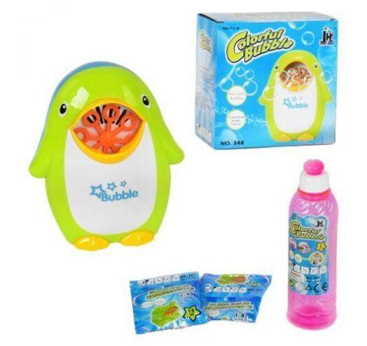 Установка для выдувания мыльных пузырей Пингвин на батарейках 348, мыльный раствор в комплекте