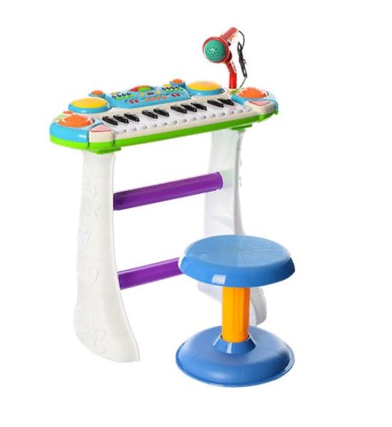 Дитяче піаніно-орган зі стільчиком і мікрофоном Joy Toy «Я музикант» 7235 Синій