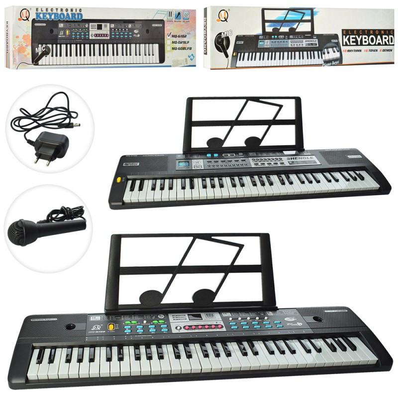 Синтезатор дитячий музичний центр 61 клавіші,мікрофон,запис,дитяче піаніно MQ6180-82
