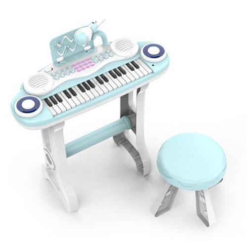 Пианино-синтезатор на ножках со стульчиком и микрофоном 860F, 37 клавиш, работает от батареек