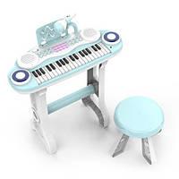 Пианино-синтезатор на ножках со стульчиком и микрофоном 860F, 37 клавиш, работает от батареек, фото 1
