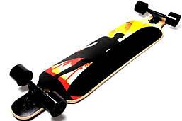 Круїзер скейт Лонгборд Freeriding WOOD BLACK MEN дерев'яний професійний до 100 кг