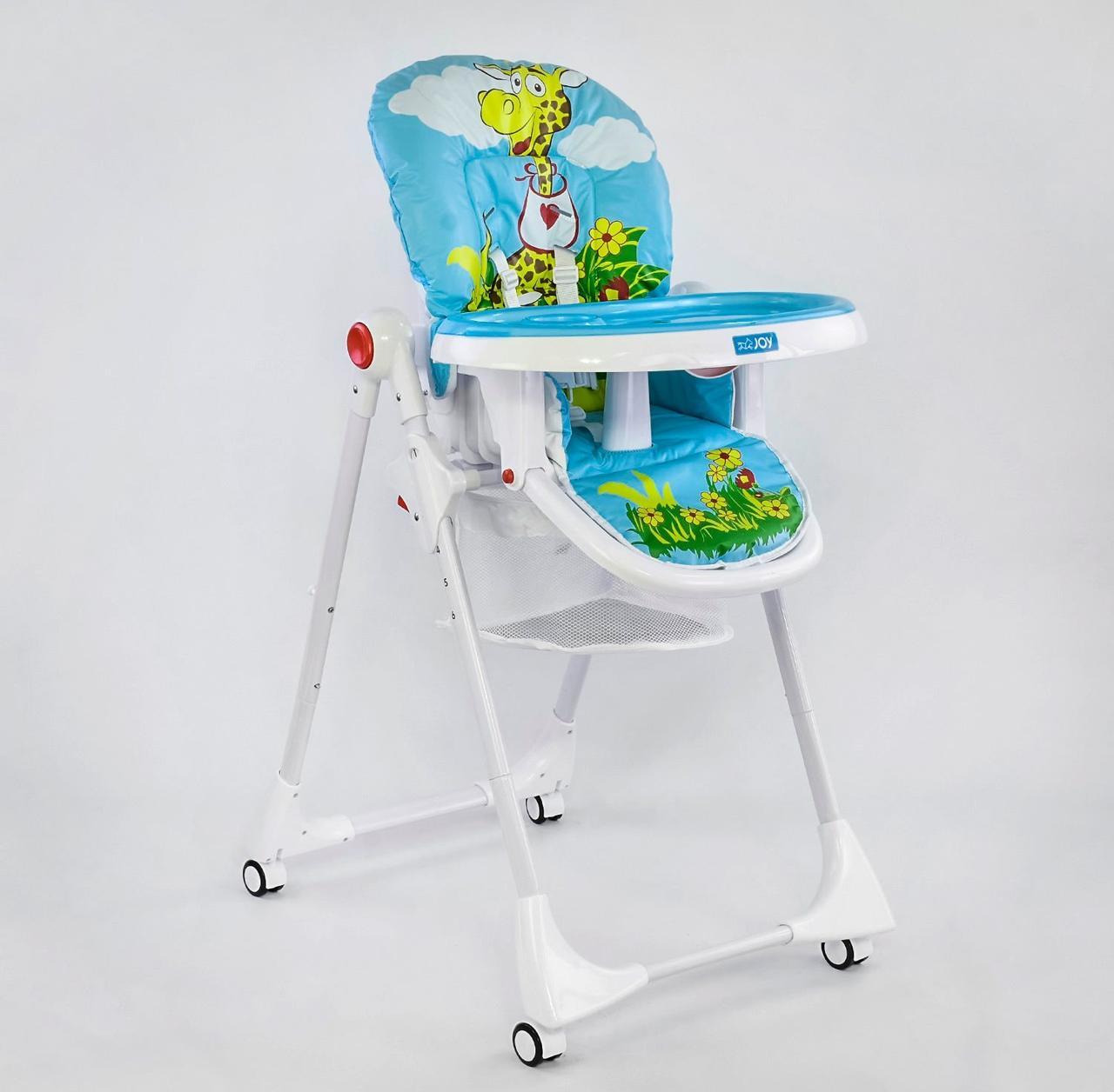 """Складаний стільчик для годування з регулюванням по висоті і непромокаючої оббивкою JOY ДО-61735 """"Жираф"""", блакитний"""