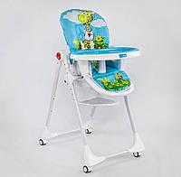 """Складаний стільчик для годування з регулюванням по висоті і непромокаючої оббивкою JOY ДО-61735 """"Жираф"""", блакитний, фото 1"""