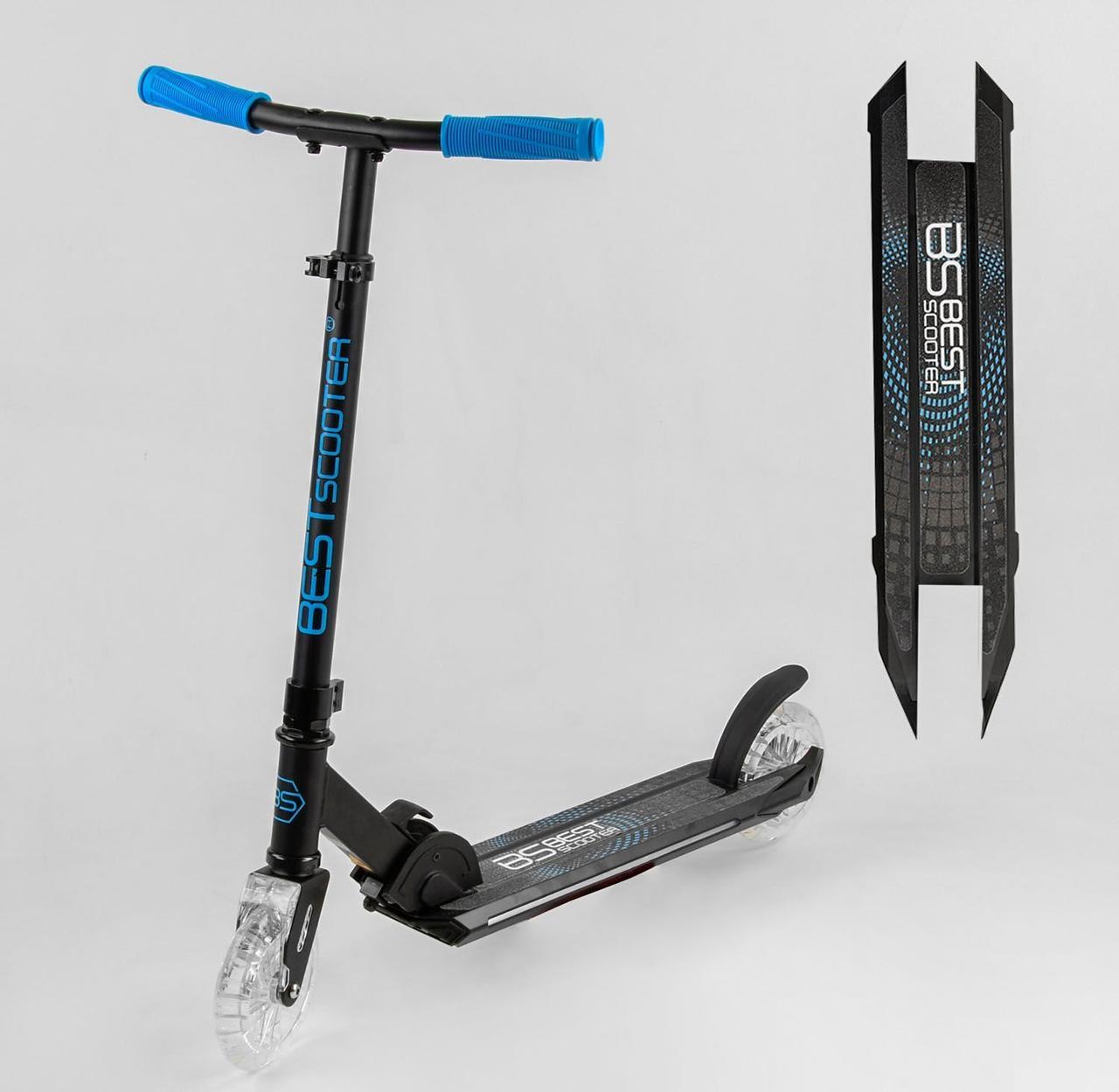 """Детский двухколесный самокат, светятся колеса, дека и передняя вилка """"Best Scooter"""" 33095"""