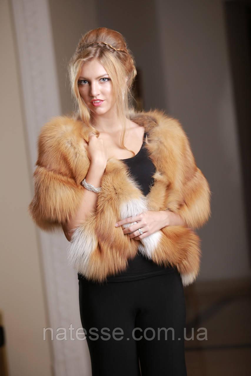 Палантин накидка из финской длинношерстной лисы GOLD
