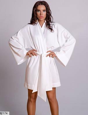 Белое платье-кимоно из натурального льна