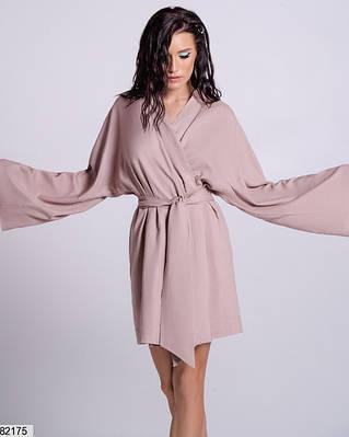Бежевое платье-кимоно из натурального льна