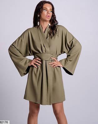 Платье-кимоно из натурального льна в цвете хаки