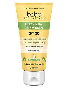 Babo Botanicals Clear Zinc Sunscreen SPF 30+ натуральный санскрин с цинком без запаха для детей и взрослых 89г