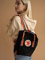 Шкільні портфелі Канкен. Рюкзаки Fjallraven Kanken Mini Rainbow. Рюкзак чорний молодіжний шкільний 7л
