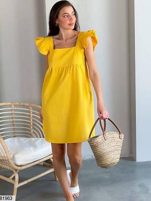 Платье мини из льна