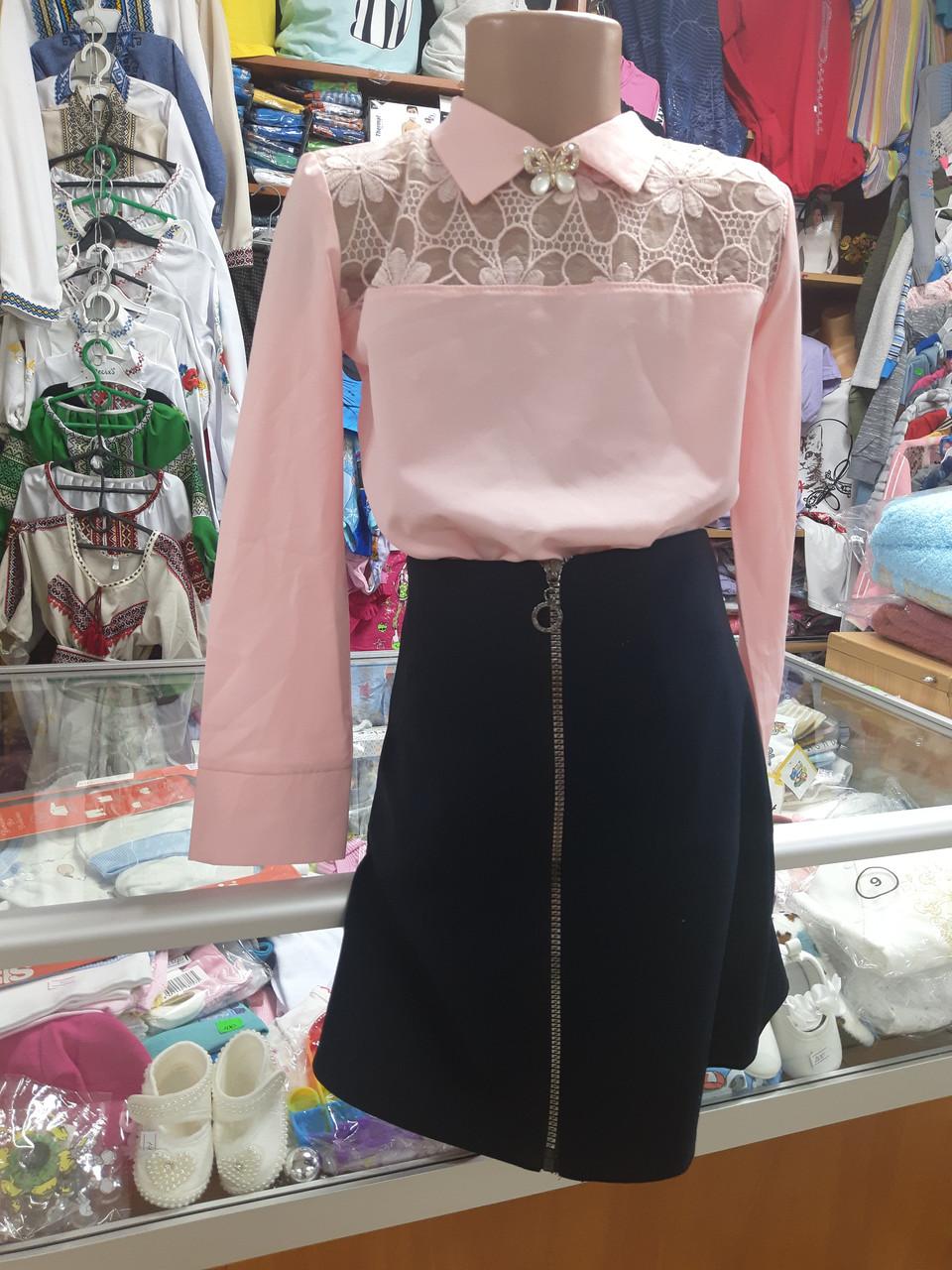 Шкільний костюм для дівчинки блузка спідниця р. 122 - 152