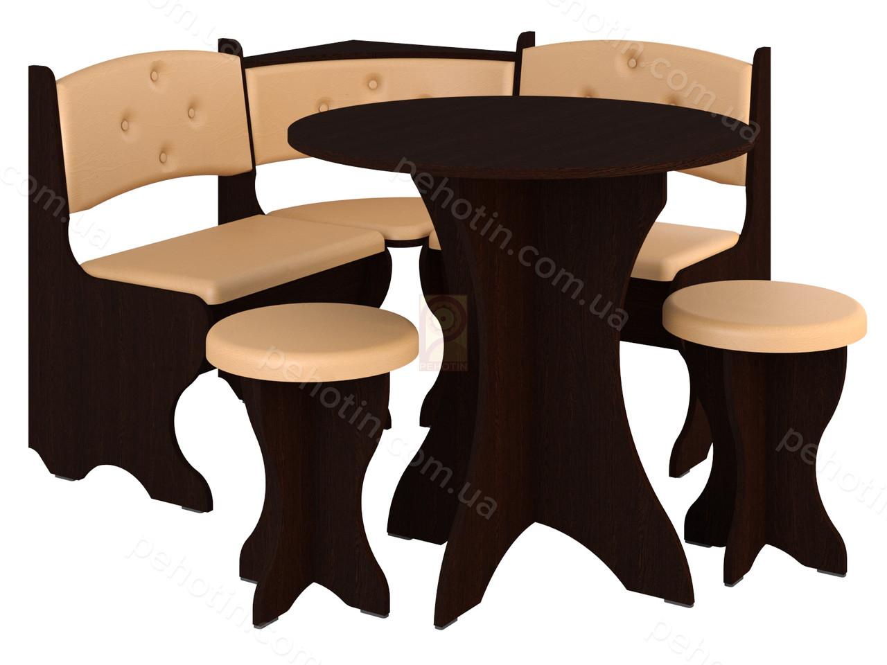 Кухонный уголок с круглым столом Пехотин Боярин Дуб молочный/Коричневый