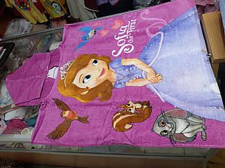 Детское пляжное полотенце пончо для девочки