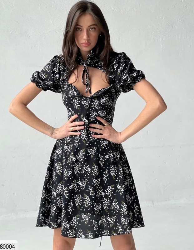 Платье мини из штапеля с принтом