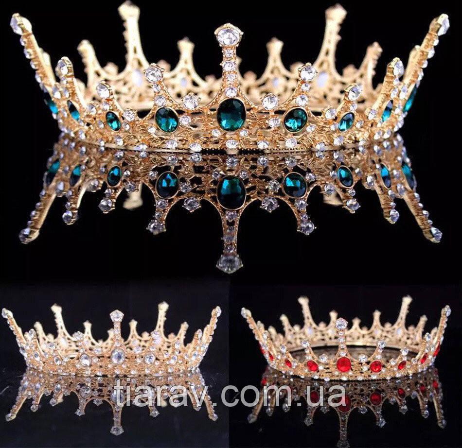 Корона кругла на голову, золота корона для волосся АЛЕКСА