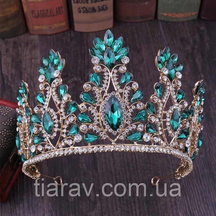Тіара висока корона з смарагдовими камінням