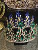 Тіара висока корона з смарагдовими камінням, фото 2