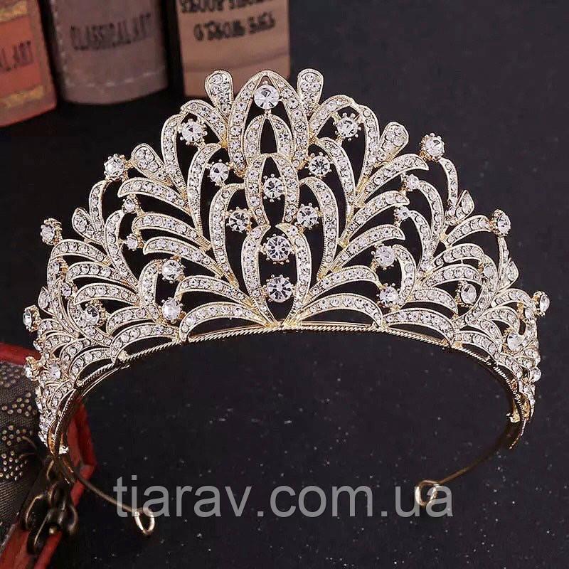 Диадема золотая, тиара красивая, корона , высокая диадема