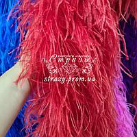 Боа страусиное трехслойное, цвет красный, длина 1,9м