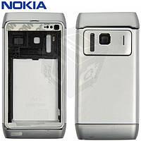 Корпус для Nokia N8-00 c клавиатурой, серебристый, оригинал