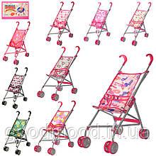 Візок 9302 W для ляльки, мет., подвійні колеса, оберт., 5 видів, 55-49-26 см.
