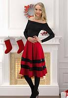 Платье черное скрасной юбкой полу солнце