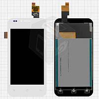 Дисплейный модуль (дисплей + сенсор) для Fly IQ442Q Miracle 2, белый, оригинал