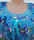 Летняя ночная рубашка на бретельках Бамбуковая ночная рубашка Ночная рубашка из натуральной ткани голубая 4XL, фото 6