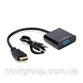 Конвертер HDMI (тато) на VGA (мама) 10cm, Black, 4K / 2K, Пакет + AUDIO Q250