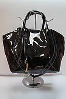 Сумка черная женская из натуральной лаковой кожи