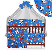 """Гр Постільний комплект """"Малютка"""" """"6 предметів - тканина полікотон"""" - """"М'ячі"""" - колір синій ТМ Алекс"""