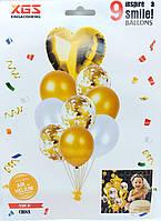 """Набор воздушных шаров латексных с конфетти и фольгированным сердцем """"золото"""" 9шт"""