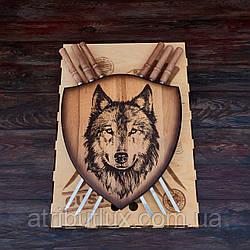 """Деревянный настенный щит с шампурами """"Волк"""""""