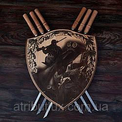 """Деревянный настенный щит с шампурами """"Охота на перепела"""""""