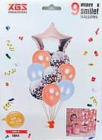 """Набор воздушных шаров латексных с конфетти и фольгированной звездой """"розовое золото"""" 9шт"""