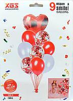 """Набор воздушных шаров латексных с конфетти и фольгированным сердцем """"красный"""" 9шт"""